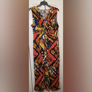 NY Collection Mulit Color Ruched Maxi Dress 3X NWT